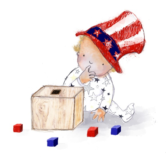 Baby with ballot box wearing Uncle Sam hat