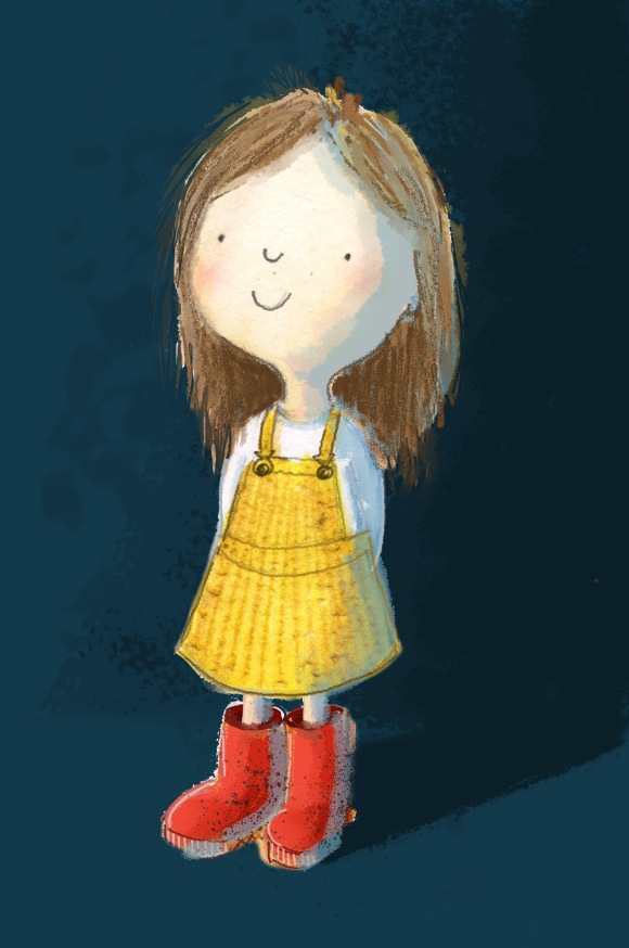 Young girl in yellow dress and red boots with arms behind back smiling