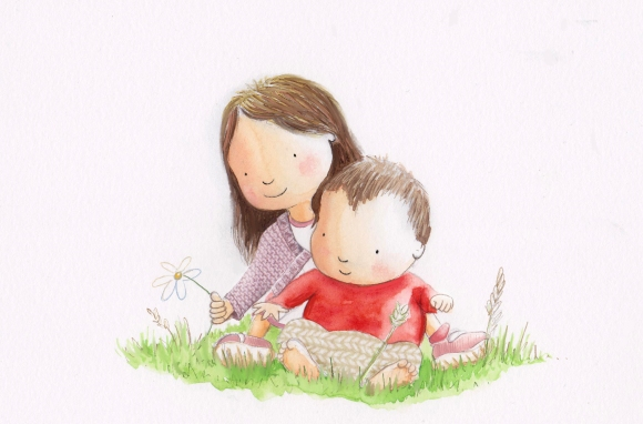 Girl and boy on grass picking flower